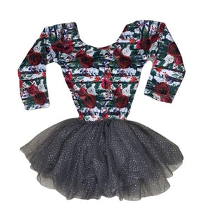 Long Sleeve Tutu Dress Leotard- Holiday Garden Striped Floral