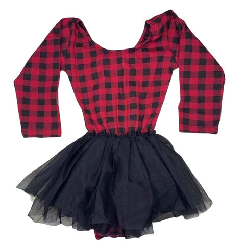Long Sleeve Tutu Dress Leotard- Red Buffalo Plaid - Morgan+Mae Co.