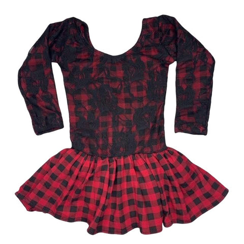 Long Sleeve Skirted Leotard- Red Buffalo Plaid w/Black Lace Overlay - Morgan+Mae Co.
