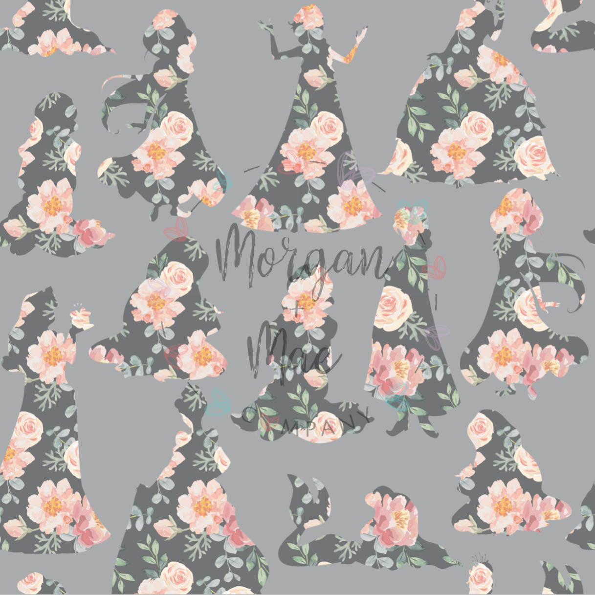 Classic Grey Floral Princess Silhouette