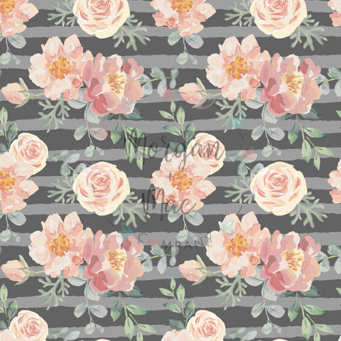 Classic MMC Grey & Peach Floral - Morgan+Mae Co.