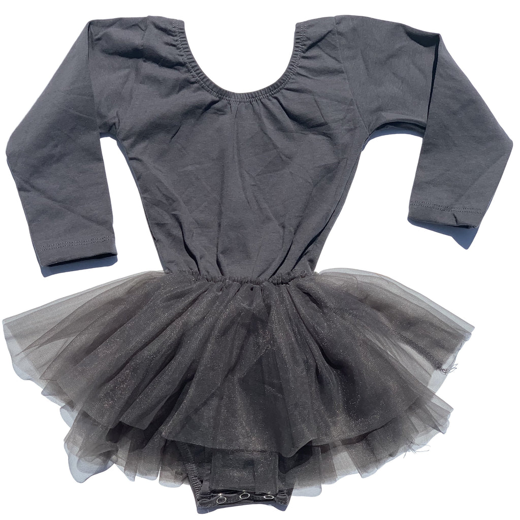 Charcoal Grey Tutu Dress Leotard - Morgan+Mae Co.