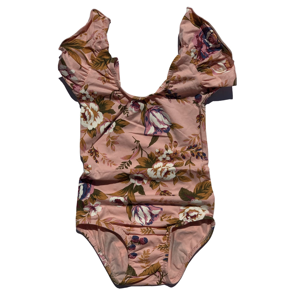 Fall Kisses Floral Flutter Sleeve Leotard - Morgan+Mae Co.