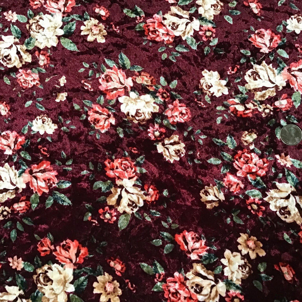 Velvet Collection- Maroon Floral - Morgan+Mae Co.
