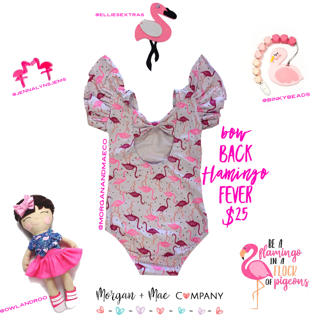 Flamingo Fever Bow Back Flutter Sleeve Leotard (Ruffle Sleeve) - Morgan+Mae Co.