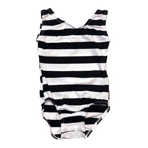 Black & White Striped (Wide) Sleeveless Leotard (Tank) - Morgan+Mae Co.