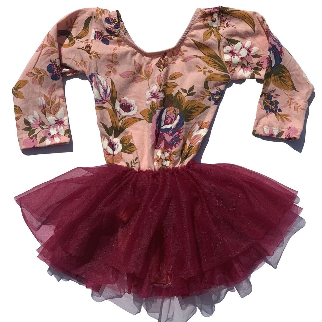 Fall Kisses Floral Tutu Dress Leotard - Morgan+Mae Co.