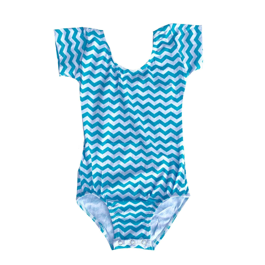 Aqua Chevron Cap Sleeve Leotard - Morgan+Mae Co.