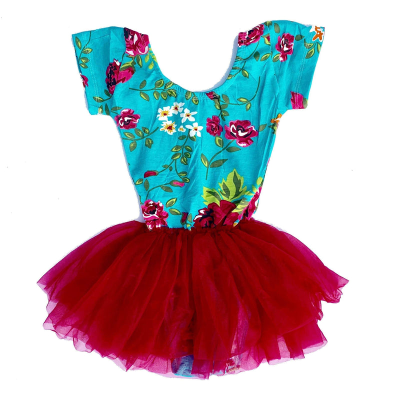 Morgan+Mae Co. Leotard Aqua Floral Cap Sleeve Tutu Dress Leotard