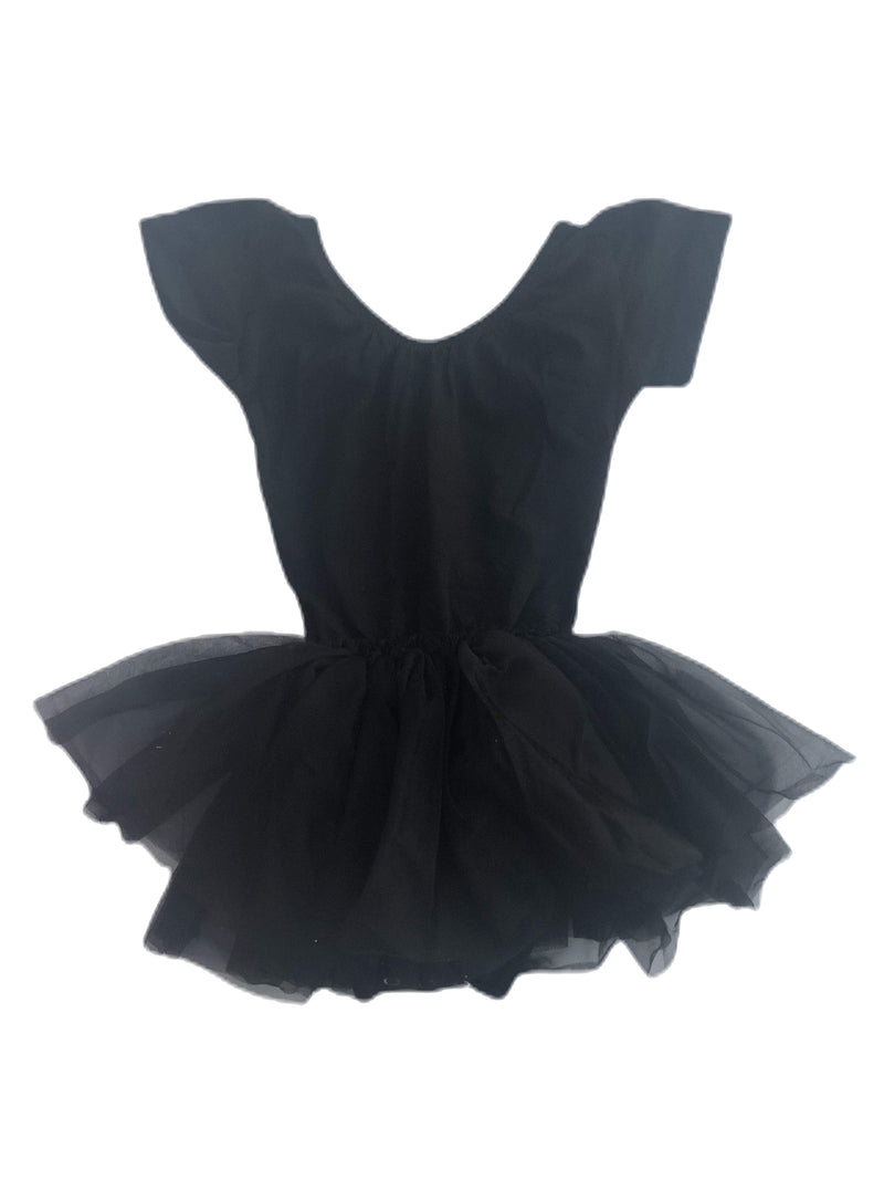 Morgan+Mae Co. Leotard Black Cap Sleeve Tutu Dress Leotard