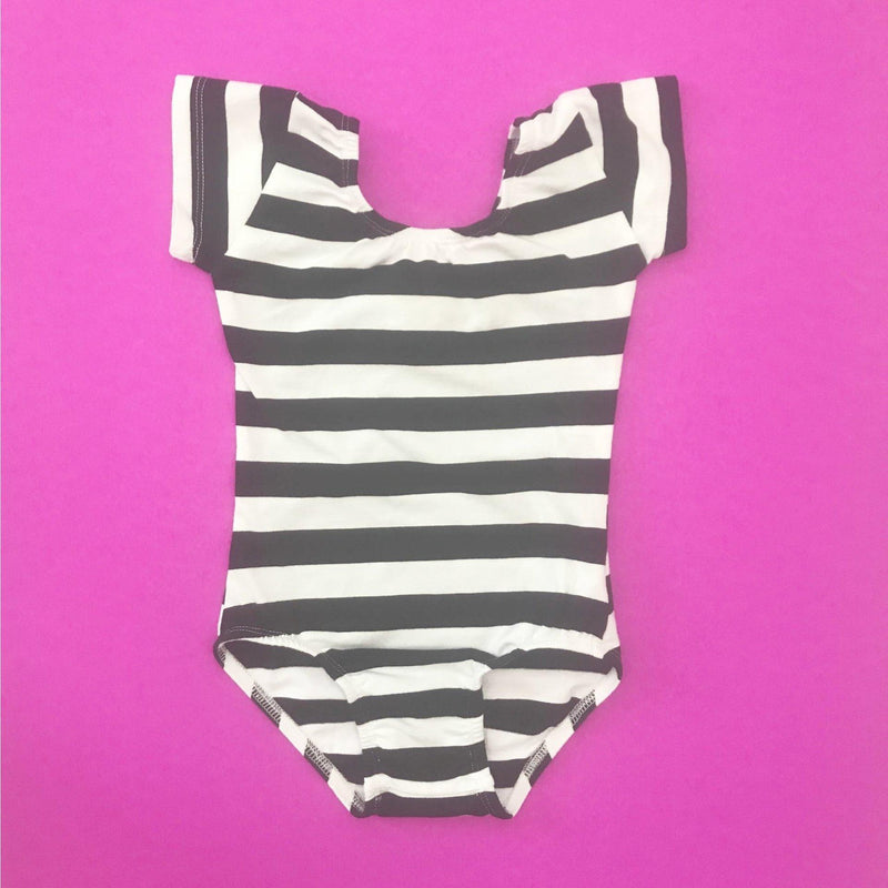 Black & White stripe (Wide) Cap Sleeve Leotard (Short Sleeve) - Morgan+Mae Co.