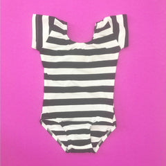 Black & White stripe (Wide) Cap Sleeve Leotard (Short Sleeve)