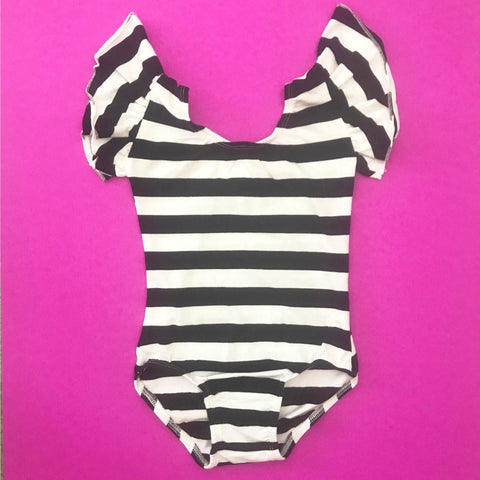 Black & White Stripe (Wide) Flutter Sleeve Leotard (ruffle Sleeve) - Morgan+Mae Co.