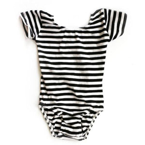 Black & White Striped Cap Sleeve Leotard (Short Sleeve)