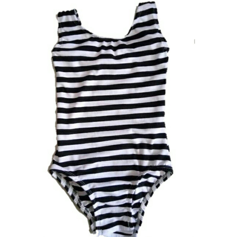 Black & White Striped Sleeveless Leotard (Tank) - Morgan+Mae Co.