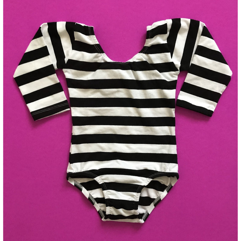 Morgan+Mae Co. Leotard Black & White Striped (Wide) Leotard (Long sleeve)