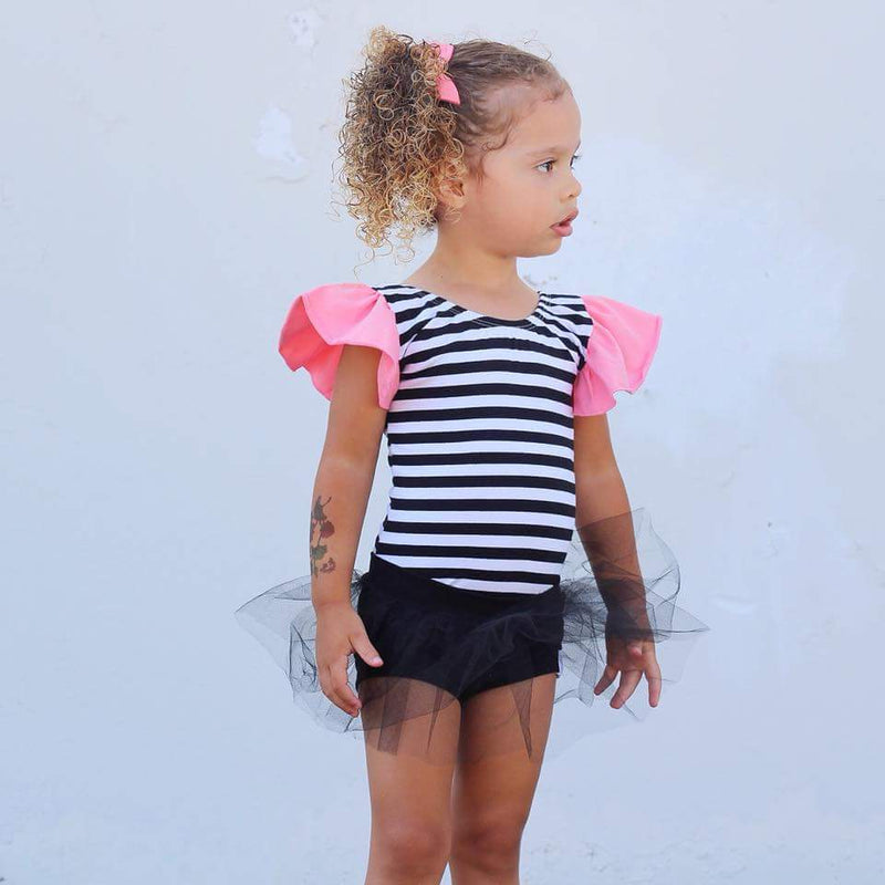 Morgan+Mae Co. Leotard Black & White Striped with Coral Flutter Sleeve Leotard (Ruffle Sleeve)