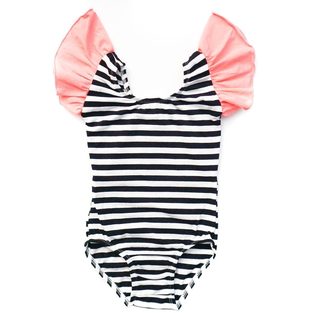 Black & White Striped with Coral Flutter Sleeve Leotard (Ruffle Sleeve) - Morgan+Mae Co.