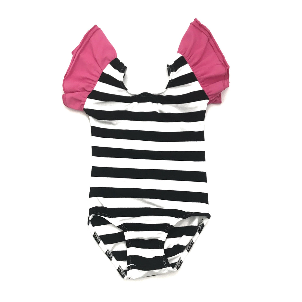 Black & White Striped (Wide) with hot pink flutter Sleeve Leotard (ruffle Sleeve) - Morgan+Mae Co.