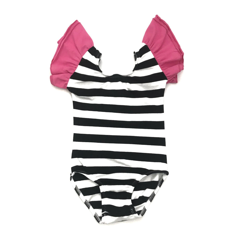 Morgan+Mae Co. Leotard Black/White stripes & hot pink flutter Sleeve Leotard (ruffle Sleeve)