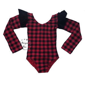 Buffalo Plaid Long Sleeve Flutter