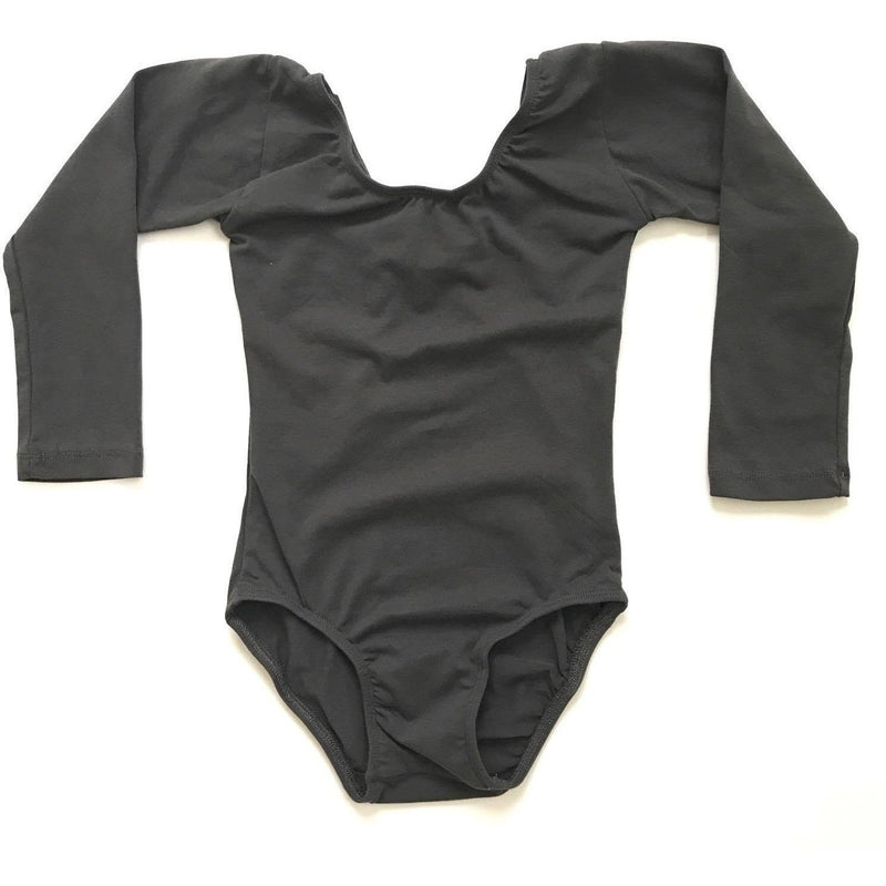 Charcoal Grey/Gray Leotard (long sleeve) - Morgan+Mae Co.