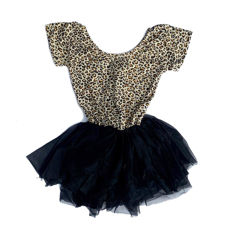 Morgan+Mae Co. Leotard Cheetah Cap Sleeve Tutu Dress Leotard
