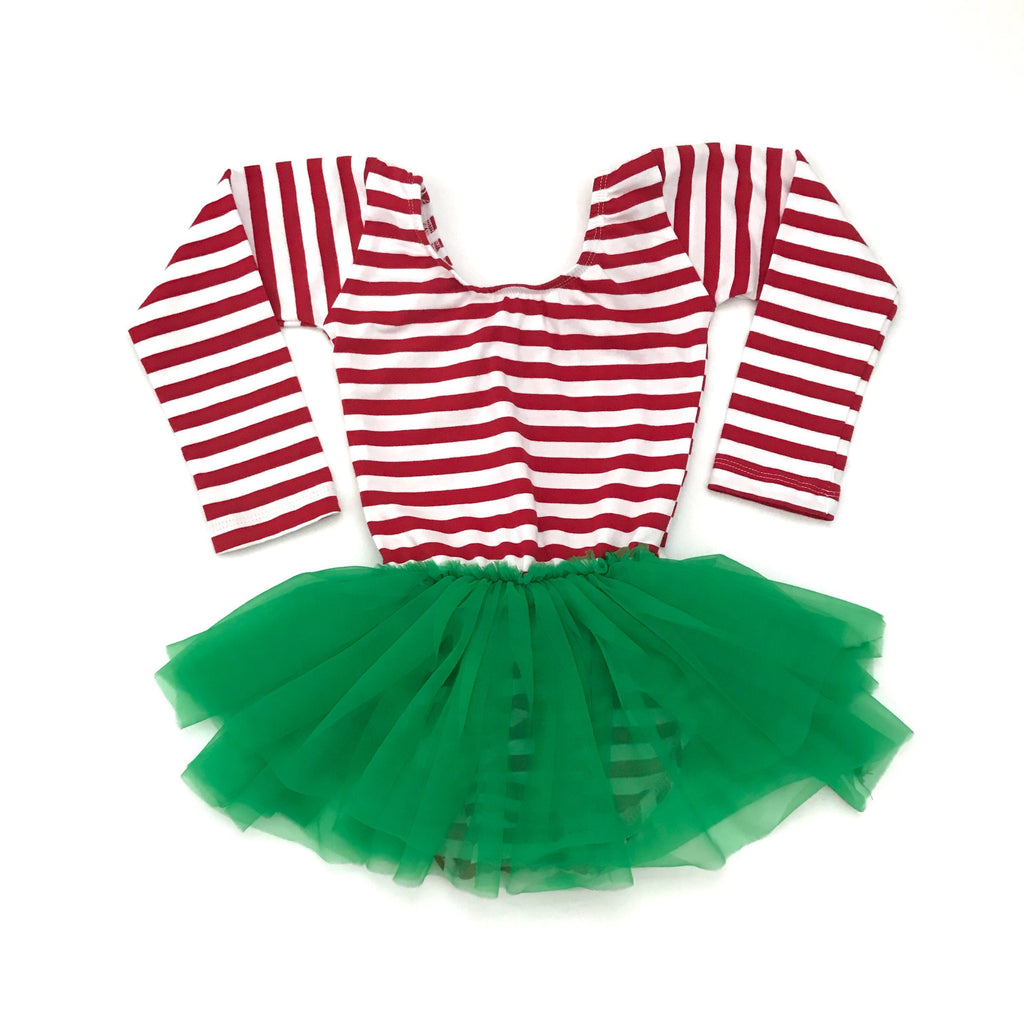 Morgan+Mae Co. Leotard Christmas Red & white Striped w/ green tutu dress leotard