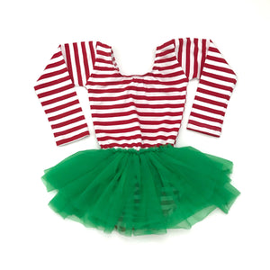 Holiday Red & white Striped w/ green tutu dress leotard