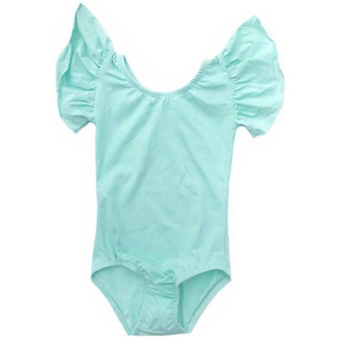 Cool Mint - Flutter Sleeve Leotard (Ruffle Sleeve) - Morgan+Mae Co.