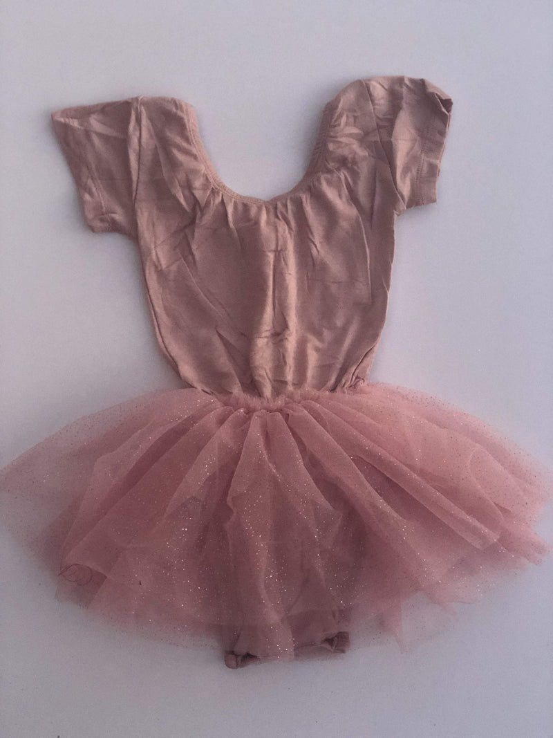 Morgan+Mae Co. Leotard Dusty Rose Cap Sleeve Tutu Dress Leotard
