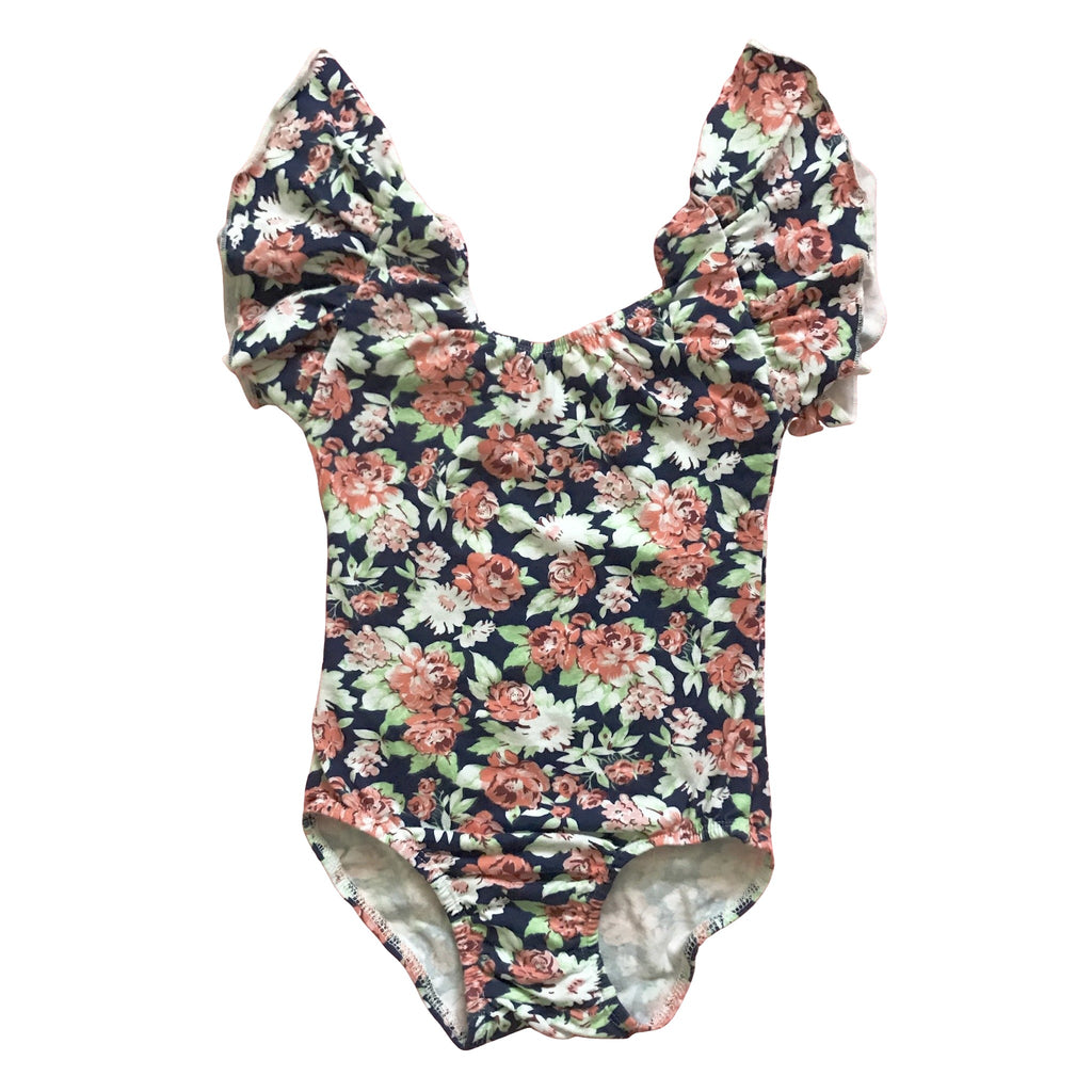 Fall Floral flutter Sleeve Leotard (ruffle Sleeve) - Morgan+Mae Co.
