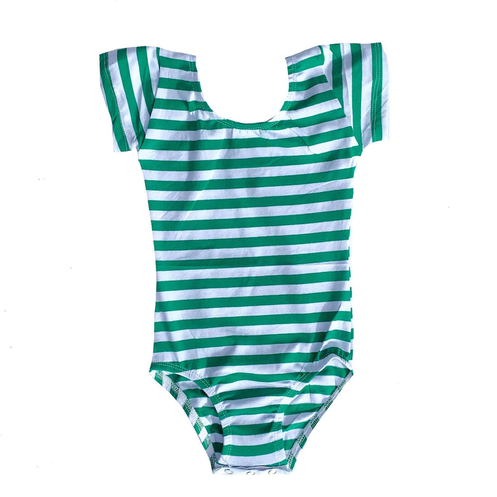 Green and White Stripe Cap Sleeve Leotard - Morgan+Mae Co.