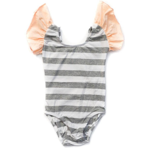 Heather Grey & White Striped with Peach Flutter Sleeve Leotard (Ruffle Sleeve) - Morgan+Mae Co.