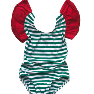 Holiday Green & white stripe w/ Red Flutter Sleeve Leotard (ruffle Sleeve)