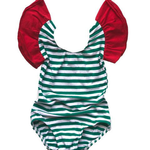 Holiday Green & white stripe w/ Red Flutter Sleeve Leotard (ruffle Sleeve) - Morgan+Mae Co.