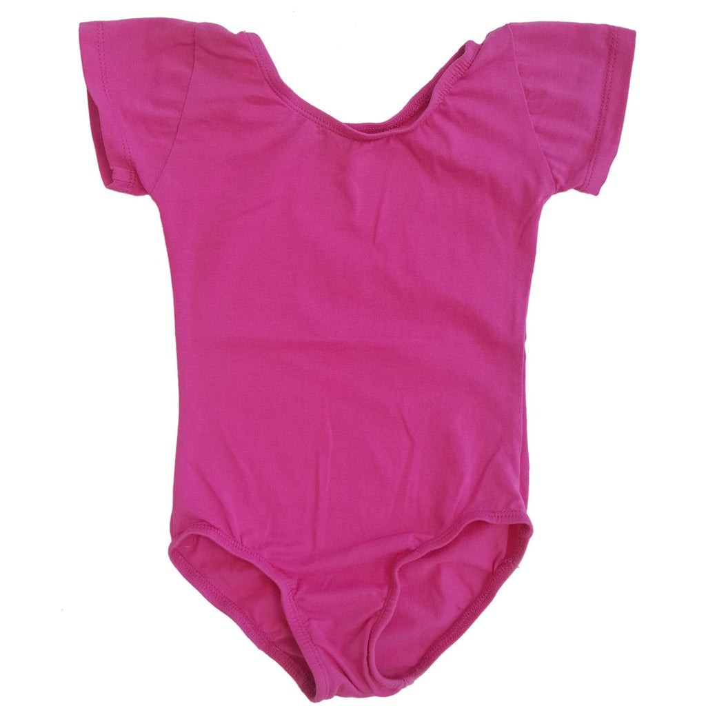Hot Pink Cap Sleeve Leotard (Short Sleeve) - Morgan+Mae Co.