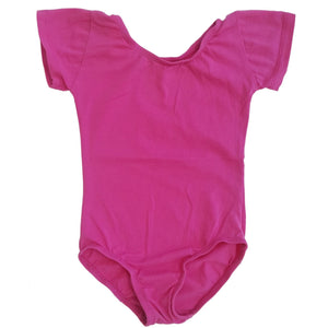 Hot Pink Cap Sleeve Leotard (Short Sleeve)