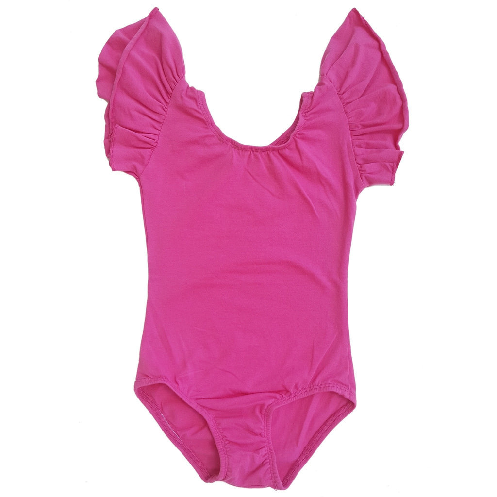 Hot Pink Flutter Sleeve Leotard (Ruffle Sleeve) - Morgan+Mae Co.