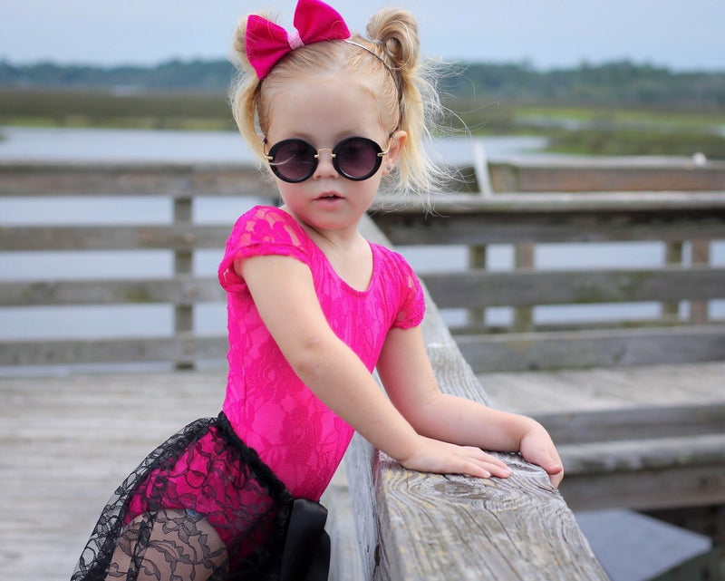 Morgan+Mae Co. Leotard Hot Pink Lace Cap Sleeve Leotard (Short Sleeve)