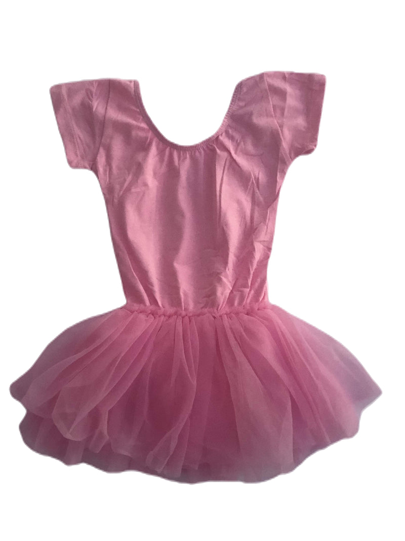 Morgan+Mae Co. Leotard Light Pink Cap Sleeve Tutu Dress Leotard
