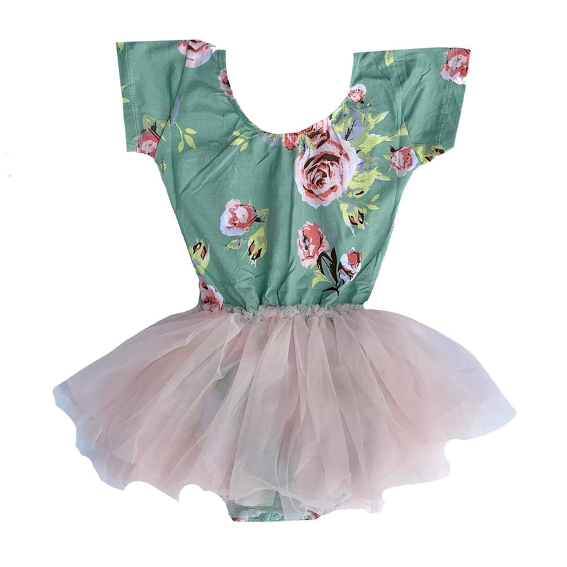 Morgan+Mae Co. Leotard Mint Floral Cap Sleeve Tutu Dress Leotard