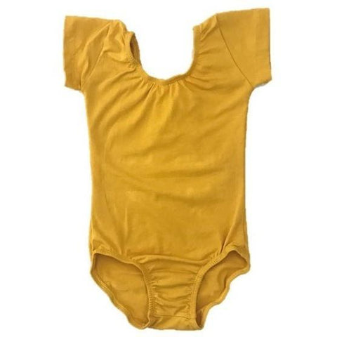 Mustard Yellow Cap sleeve leotard (short sleeve) - Morgan+Mae Co.
