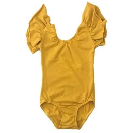 Morgan+Mae Co. Leotard Mustard Yellow flutter sleeve leotard (Ruffle sleeve)