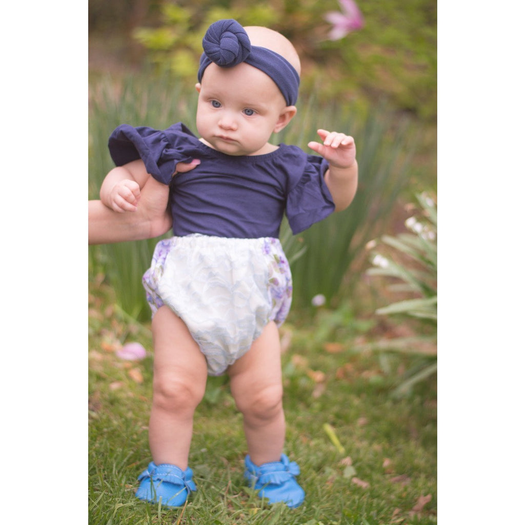 Morgan+Mae Co. Leotard Navy Blue Flutter Sleeve Leotard (Ruffle Sleeve)