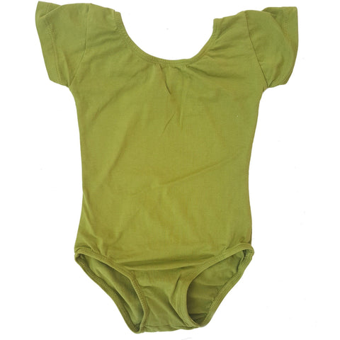 Olive Green Cap Sleeve leotard (Short Sleeve) - Morgan+Mae Co.