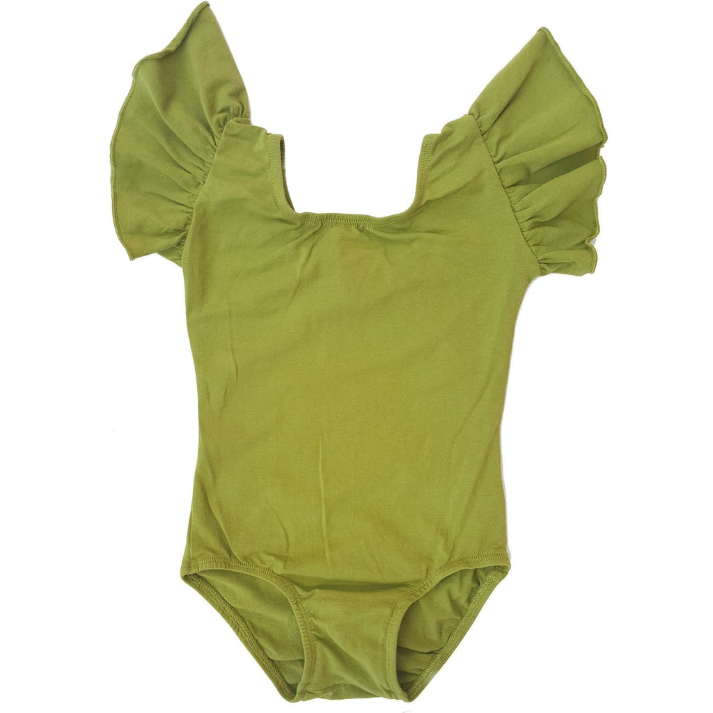 Morgan+Mae Co. Leotard Olive Green Flutter Sleeve Leotard (Ruffle Sleeve)