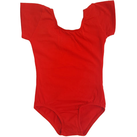 Red Cap Sleeve Leotard (Short Sleeve) - Morgan+Mae Co.