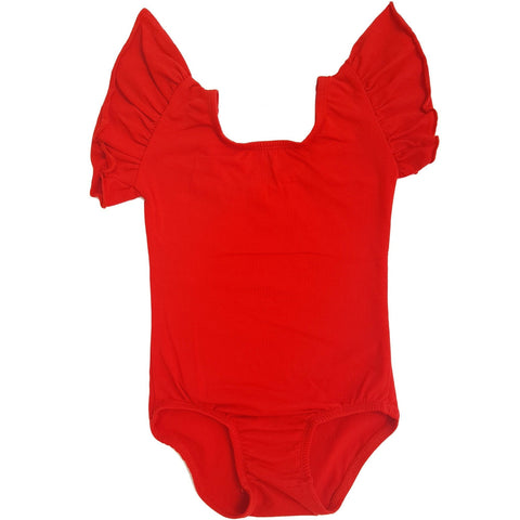 Red Flutter Sleeve Leotard (Ruffle Sleeve) - Morgan+Mae Co.