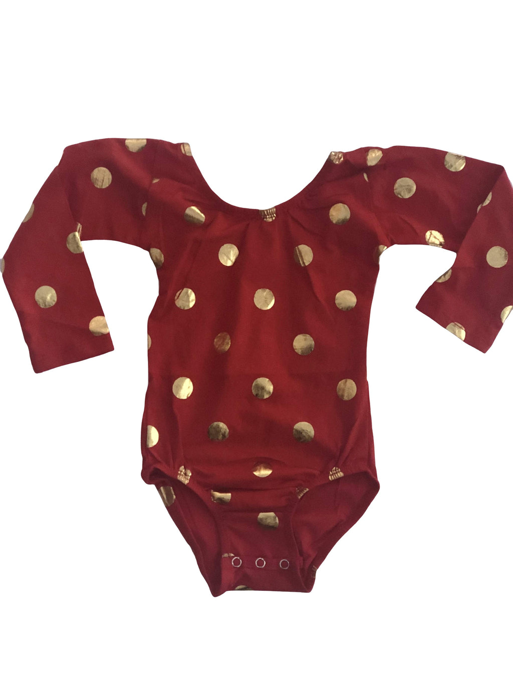 Red & Gold Foil Dot (Long Sleeve) Leotard - Morgan+Mae Co.